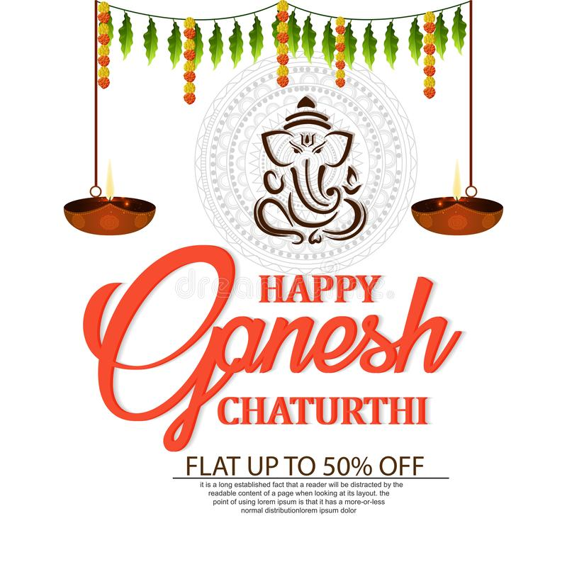 Lord Ganesha en el estilo Ganesh Chaturthi de la pintura stock de ilustración