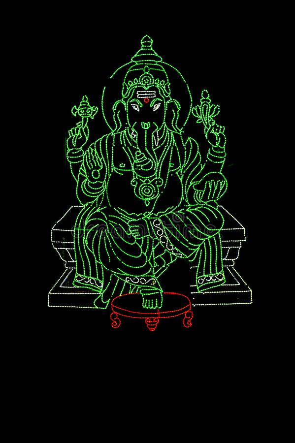 Lord Ganesha exhibió en serie de luces LED verdes fotos de archivo