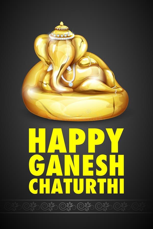 Lord Ganesha fez do ouro para Ganesh Chaturthi ilustração do vetor