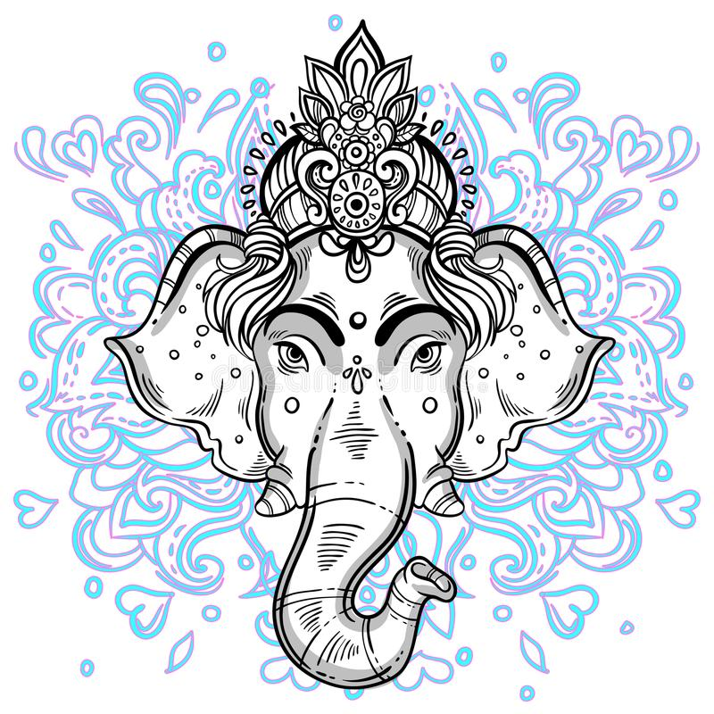 Lord Ganesha hand-drawn beautiful artwork. Doodle style colorful background. High-detailed vector image. Psychedelic. vector illustration