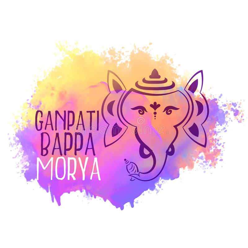Lord ganesha in line style watercolor background vector illustration