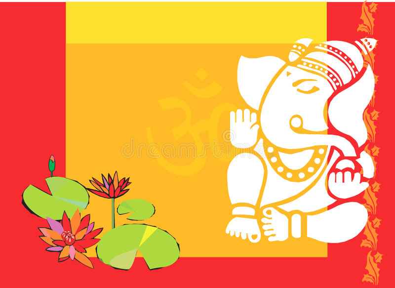 Lord Ganesha med lotusblommaväxten royaltyfri illustrationer