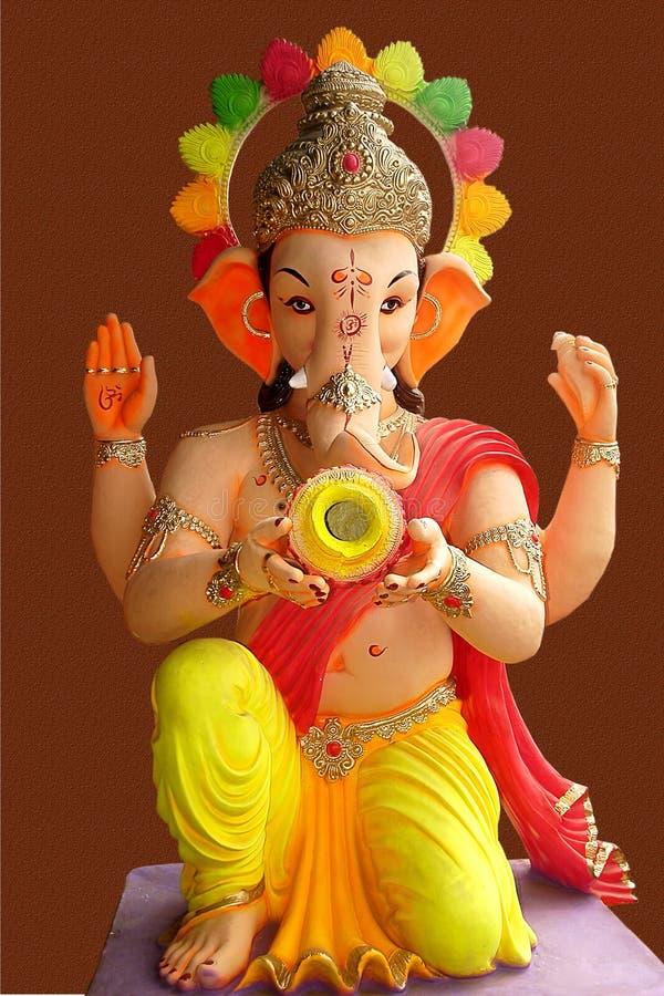 Lord Ganesha met kalash stock foto