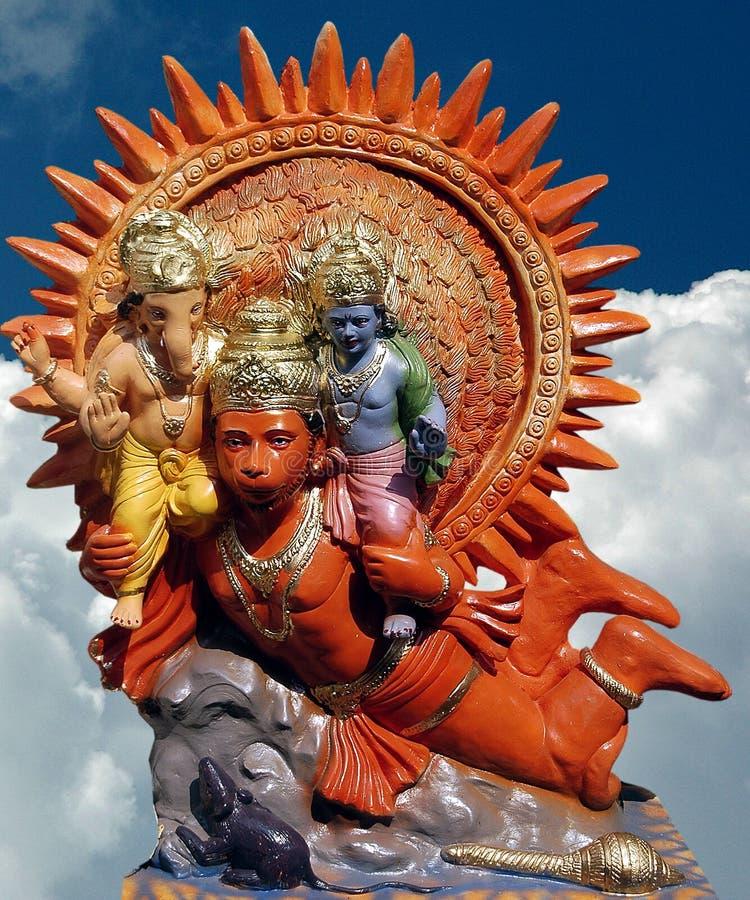 Lord Ganesha mit hanuman stockbild