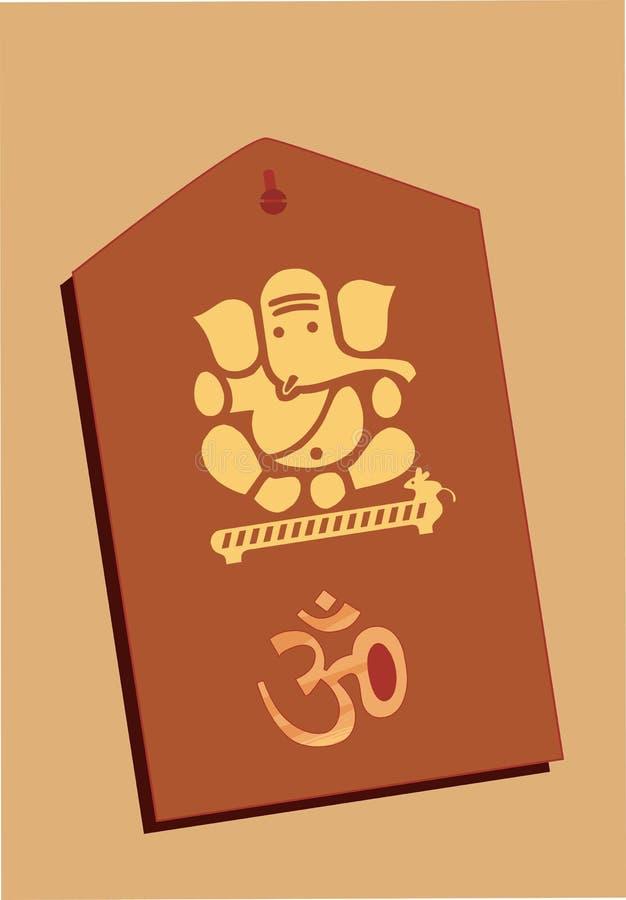 Lord Ganesha och Om i trä stock illustrationer