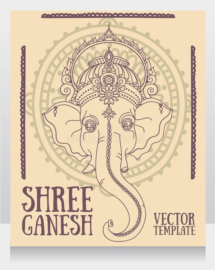 Lord Ganesha, peut être employé comme carte pour la célébration Ganesh Chaturth illustration de vecteur