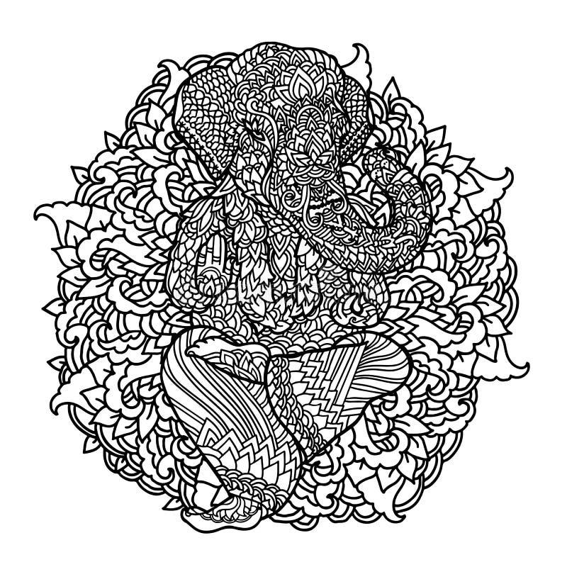 Lord Ganesha sur le fond indien de mandala Modèle asiatique avec des feuilles et des fleurs Copie de style de yoga Rebecca 36 illustration stock