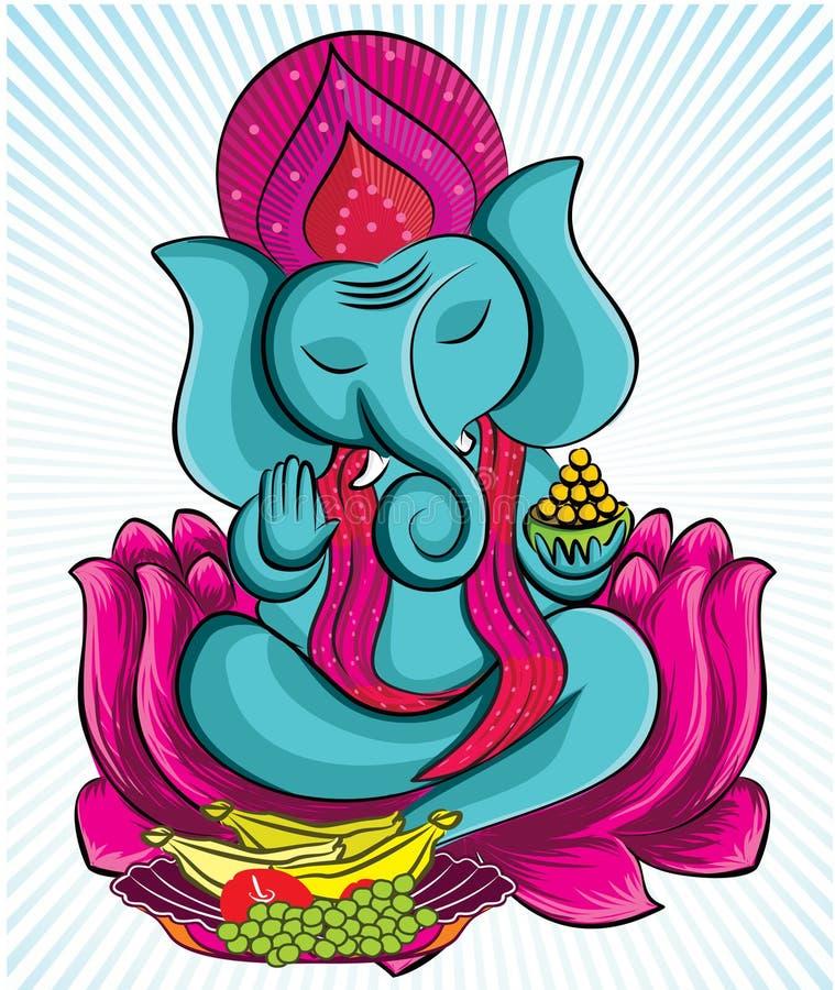 Lord Ganesha sur le lotus illustration stock