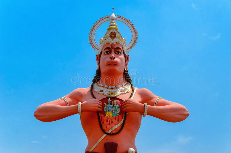 Lord Hanuman. Hanumat Dham at Shahjahanpur city, Uttar Pradesh state in India is now the sixth highest Hanuman statue. The orange colored statue with well stock photo