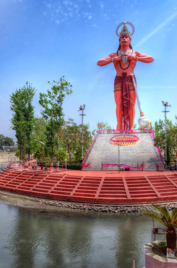 Lord Hanuman. Hanumat Dham at Shahjahanpur city, Uttar Pradesh state in India is now the sixth highest Hanuman statue. The orange colored statue with well royalty free stock images