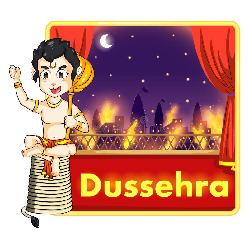 Lord Hanuman som bränner Lanka med brand på hans svans stock illustrationer