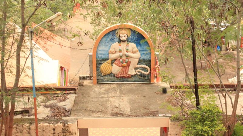 Lord Hanuman Statue on the Entrance of a Temple in Saswad, Maharashtra royalty free stock images
