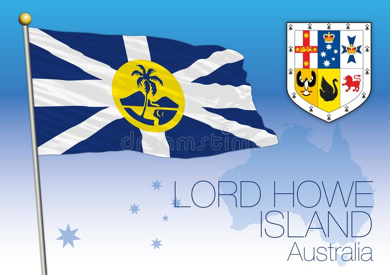 Lord Howe Island, flag of the state territory, Australia vector illustration