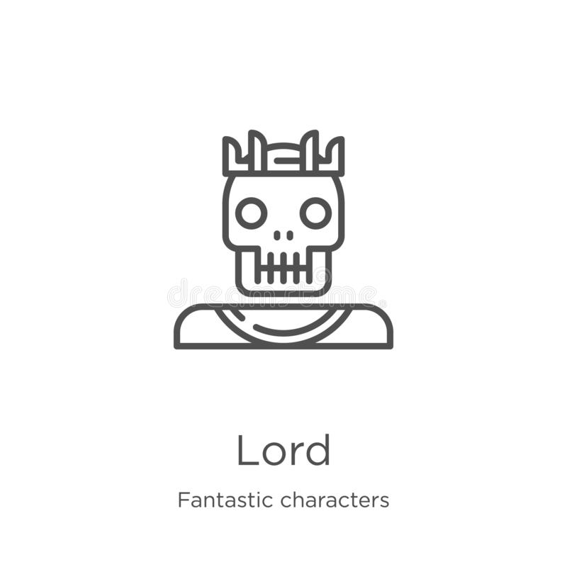 lord icon vector from fantastic characters collection. Thin line lord outline icon vector illustration. Outline, thin line lord stock illustration