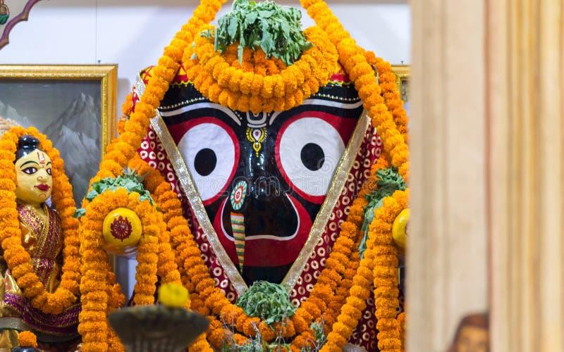 Lord Jagannath an einem Tempel in Puri stockbild