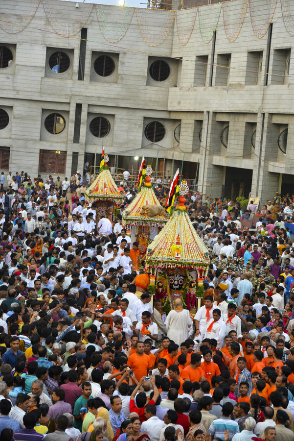 Lord Jagannath's 137th Rath Yatra begins in Ahmedabad, Rath Yatra. AHMEDABAD, GUJARAT/INDIA - SUNDAY 29 JUNE 2014 : Lord Jagannath's 137th Rath Yatra begins in royalty free stock photography