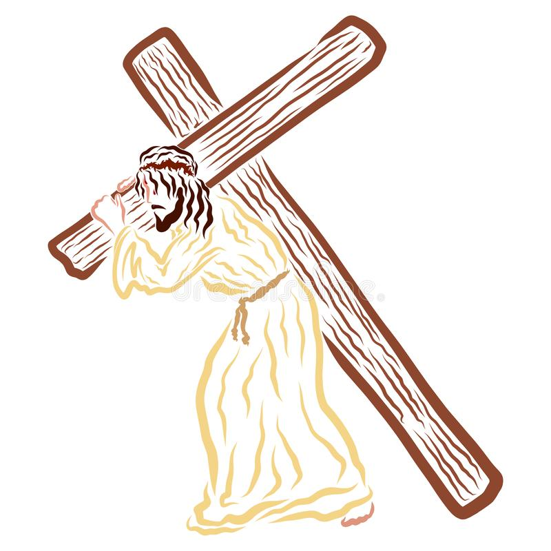 Lord Jesus carrying the cross to Calvary.  royalty free illustration