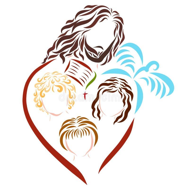 Lord Jesus, crianças, a Bíblia, a cruz e a pomba ilustração stock