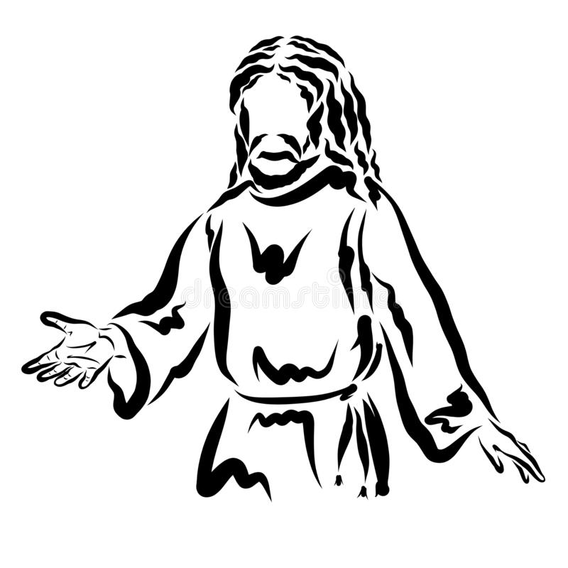 Lord Jesus extends a helping hand to people, black outline.  royalty free illustration
