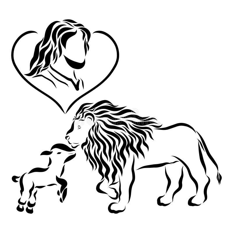 Lord Jesus in het hart, het lam en de leeuw vector illustratie