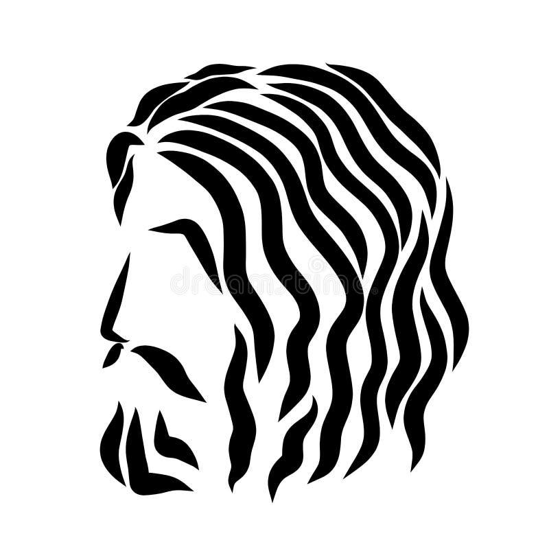 Lord Jesus, hoofd, patroon van zwarte golvende lijnen vector illustratie