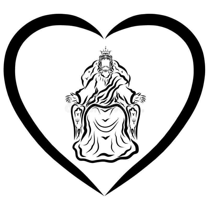 Lord Jesus que reina en el corazón, modelo negro ilustración del vector