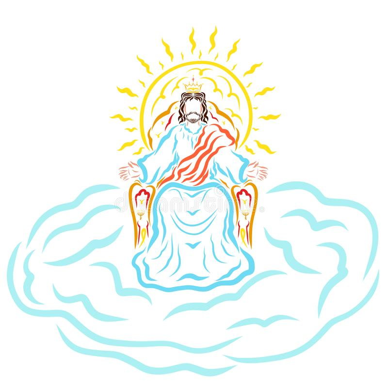 Lord Jesus, segunda venida, en el trono en la corona stock de ilustración