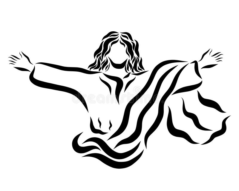 The Lord Jesus who conquered death, the risen and ascending Savior.  royalty free illustration