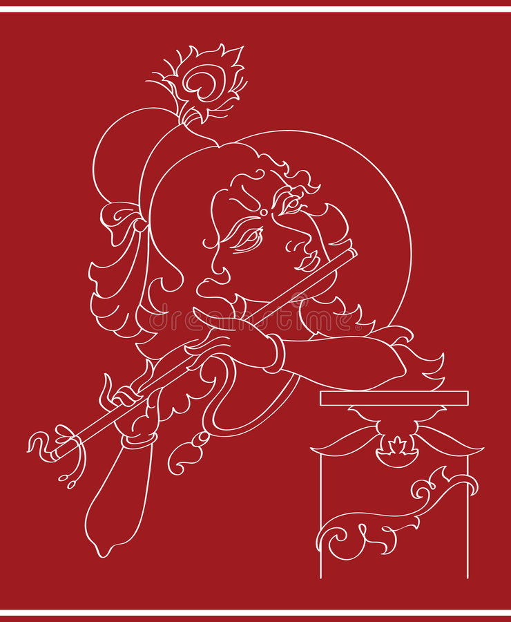 Download Lord Krishna stock illustration. Image of decorative, asia - 6285641