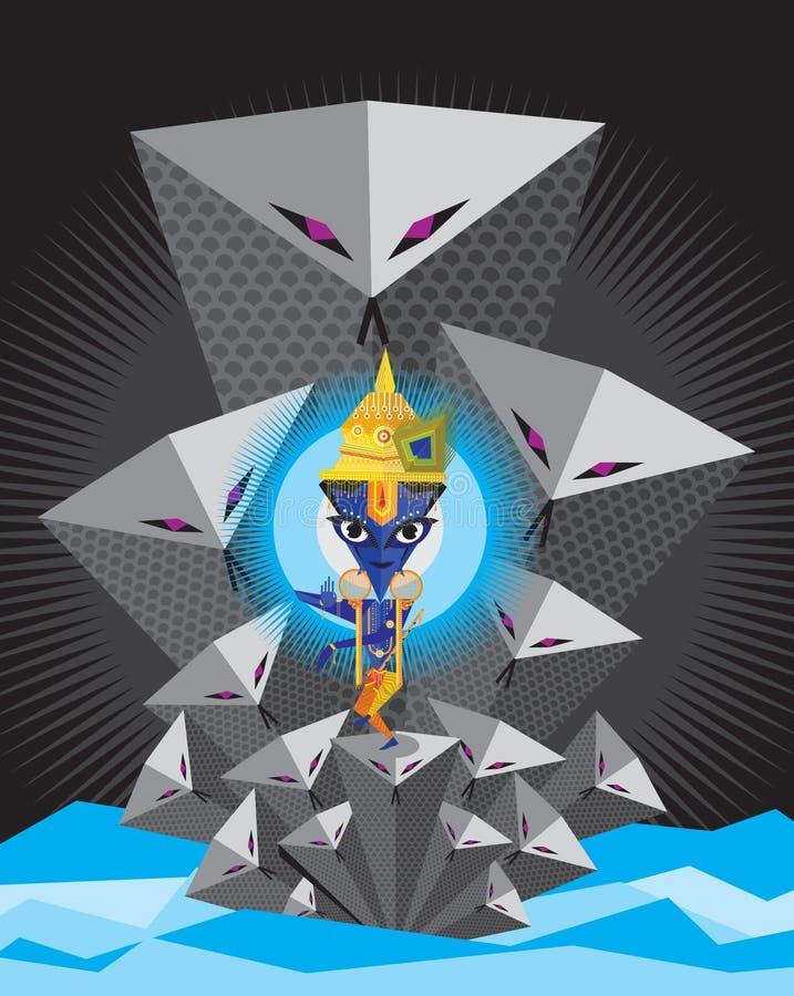 Lord Krishna aprecia jogar a flauta ilustração stock