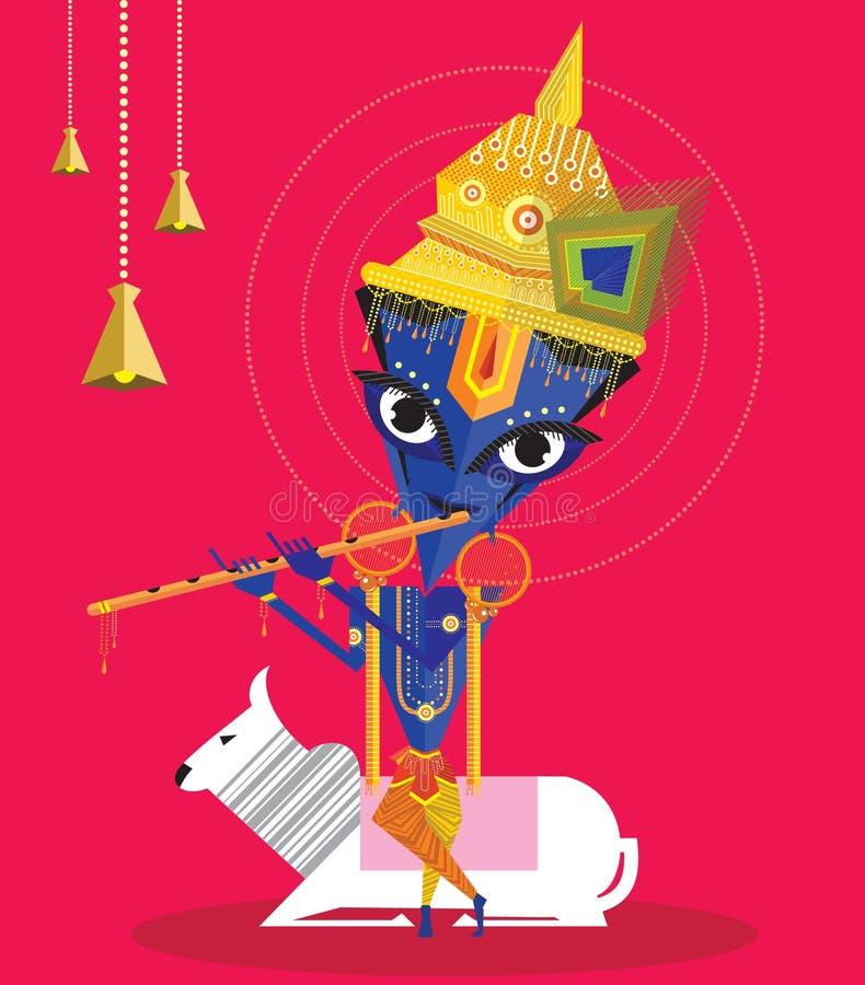 Lord Krishna aprecia jogar a flauta ilustração royalty free