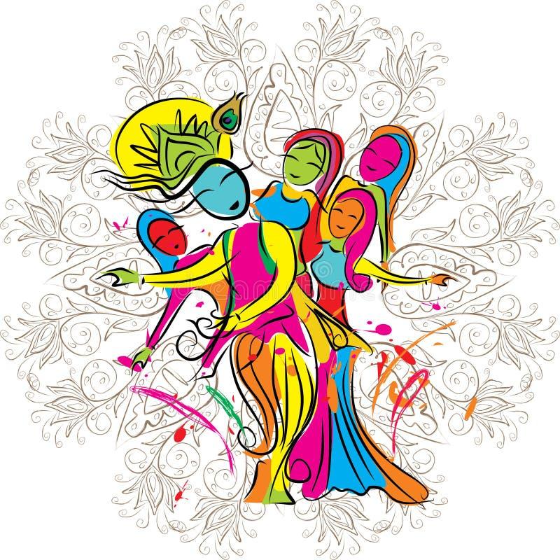 Lord Krishna che gioca holi con i gopies royalty illustrazione gratis