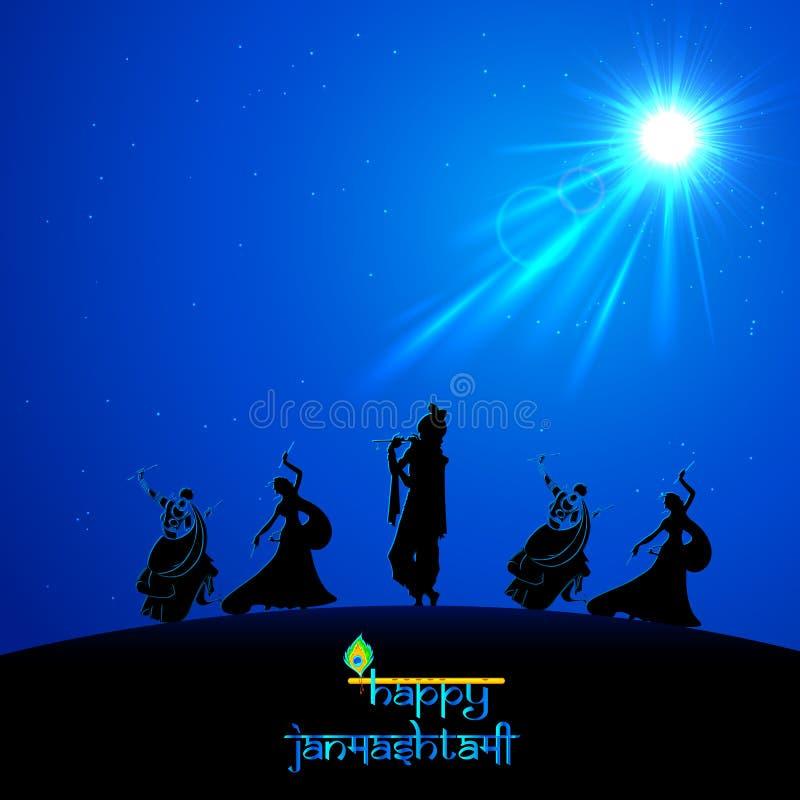 Lord Krishna die Onbesuisde Leela in Janmasthami doen royalty-vrije illustratie