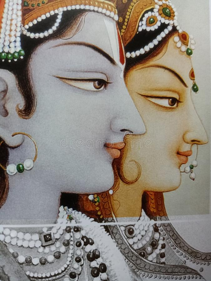 Lord Krishna e Maa Radha fotos de stock royalty free