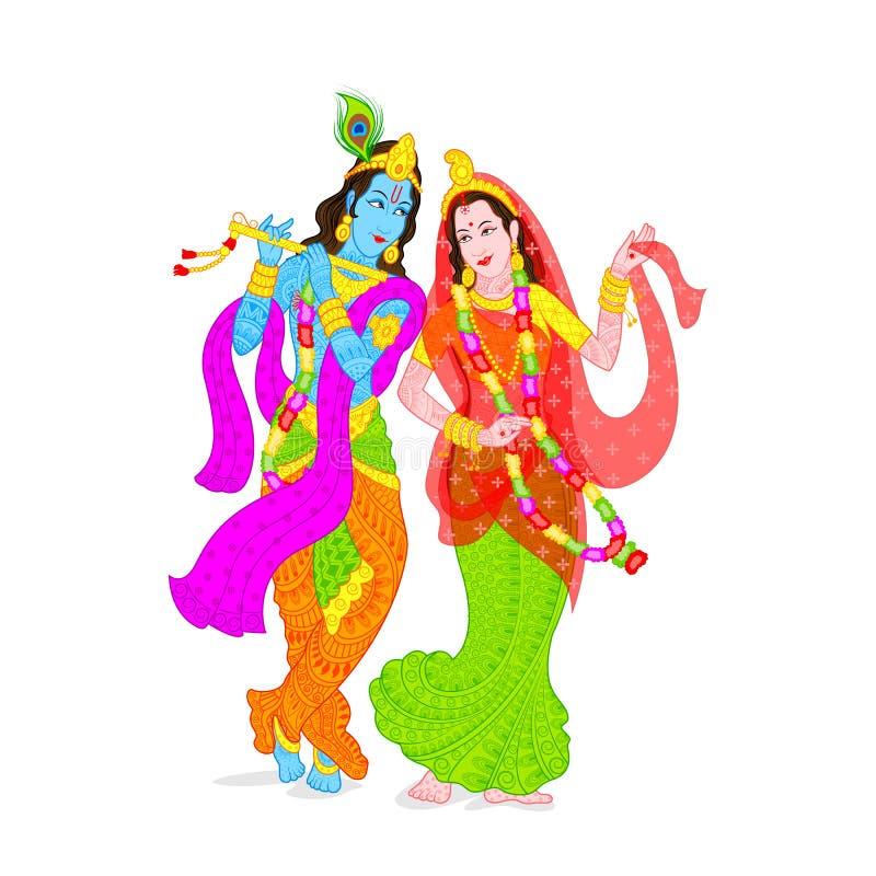 Lord Krishna e Radha ilustração royalty free
