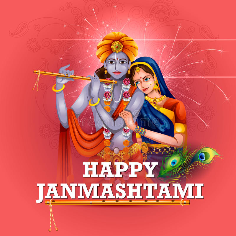 Lord Krishna e Radha no fundo feliz de Janmashtami ilustração do vetor