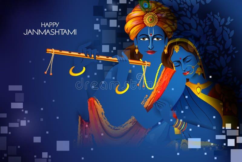 Lord Krishna e Radha que jogam a flauta no fundo indiano do festival do feriado feliz de Janmashtami ilustração royalty free