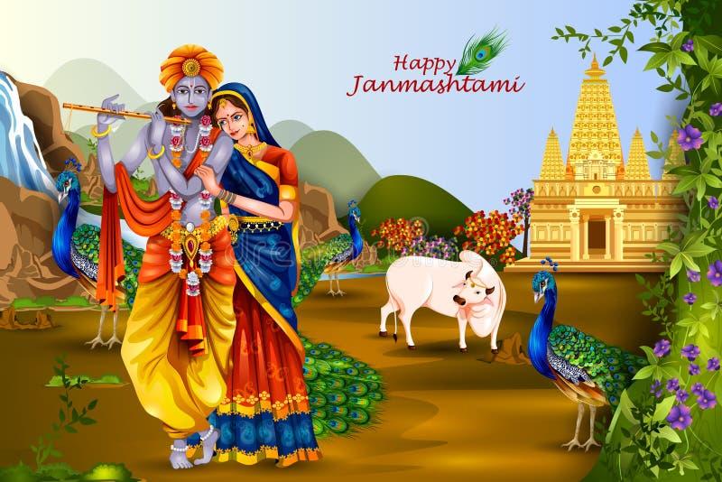 Lord Krishna e Radha sul fondo felice di Janmashtami fotografia stock