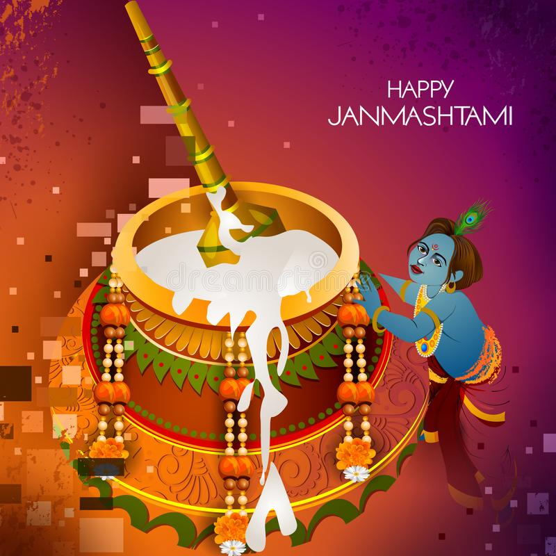 Lord Krishna eating makhan cream on Happy Janmashtami holiday Indian festival greeting background. Easy to edit vector illustration of Lord Krishna eating makhan stock illustration