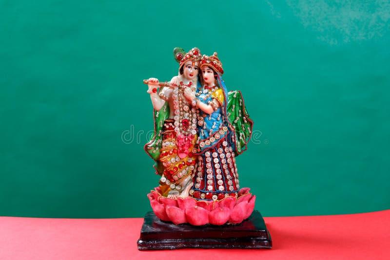 Lord Krishna en Radha, Indische god stock afbeelding