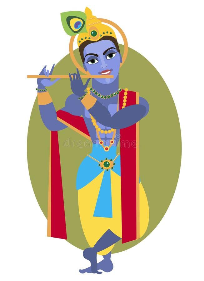 Lord Krishna flöjt stock illustrationer