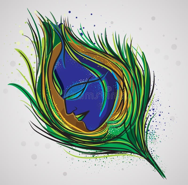 Lord Krishna Magical Feather illustrazione vettoriale