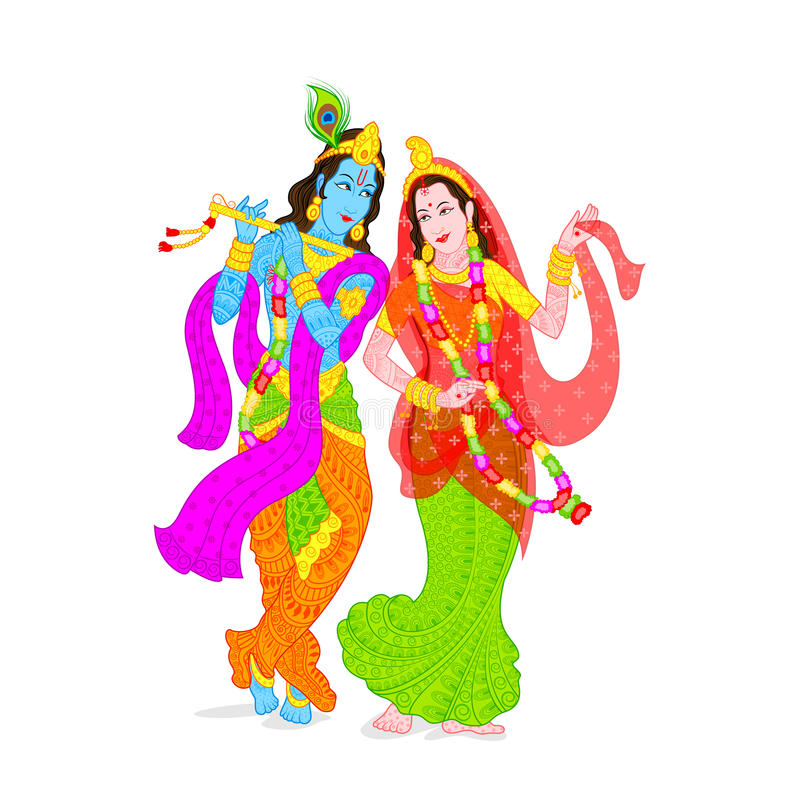 Lord Krishna och Radha royaltyfri illustrationer