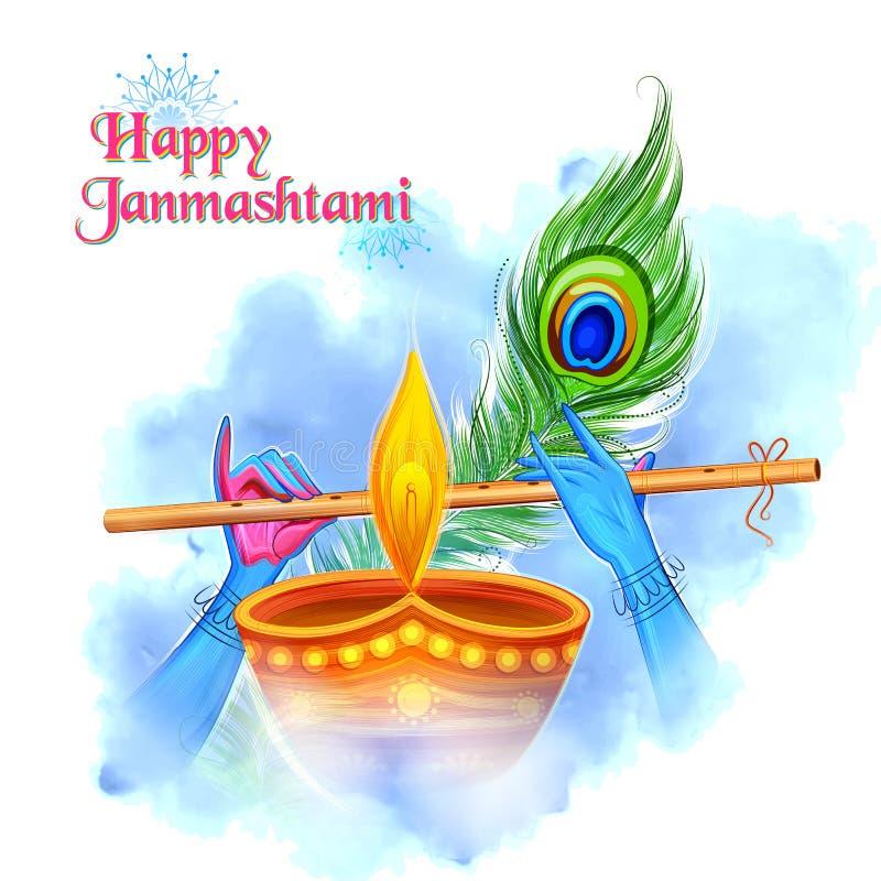 Lord Krishna que toca la flauta del bansuri en el fondo feliz del festival de Janmashtami de la India libre illustration