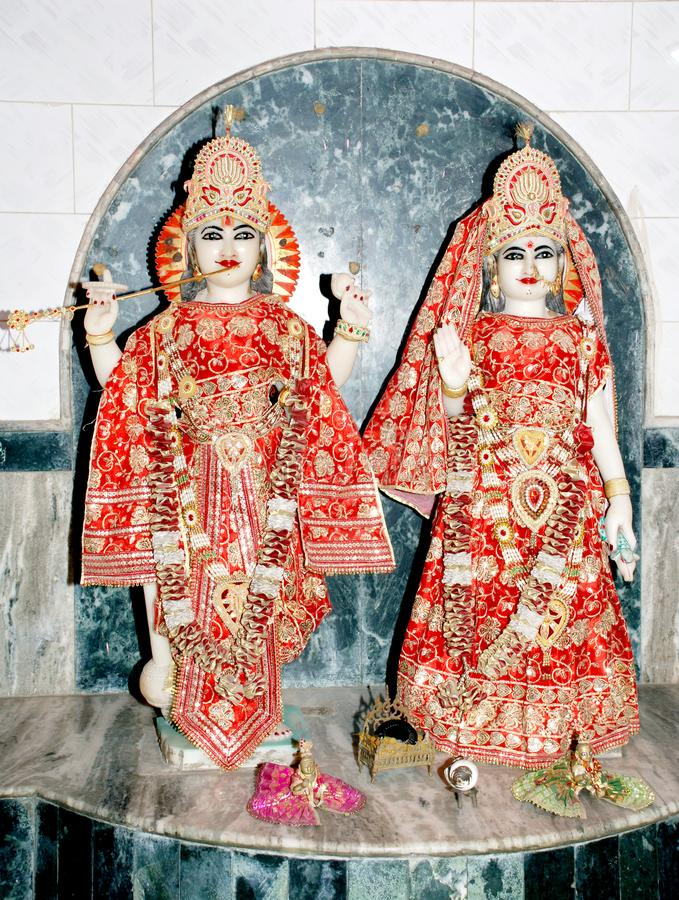 Lord krishna and radha in the hindu temple. India royalty free stock images