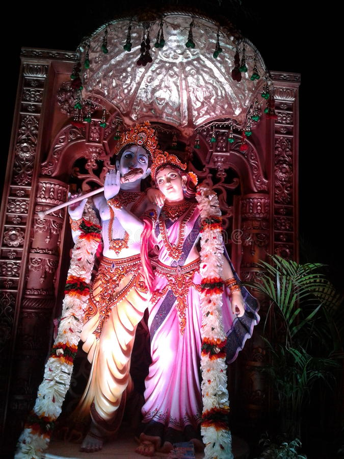 Lord Krishna with Radha statues royalty free stock photo