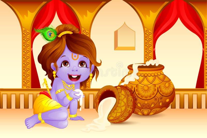 Lord Krishna-stelen makhaan in Janmashtami royalty-vrije illustratie