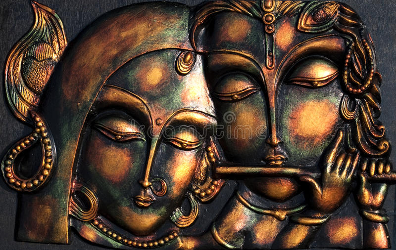 Lord Krishna und sein ladylove stockfotografie