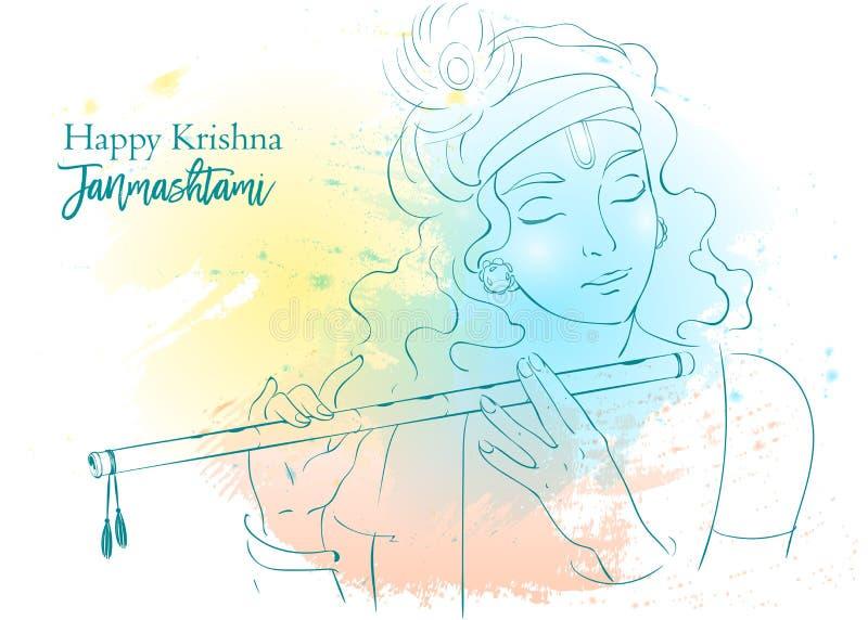 Lord Krishna vector Illustration. Happy Janmashtami, annual Hindu festival greetings. Line art portrait royalty free illustration