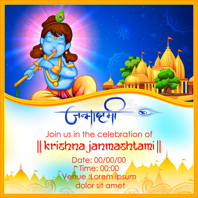 Free Lord Krishna With Hindi Text Meaning Happy Janmashtami Festival Of India Stock Photos - 97421613